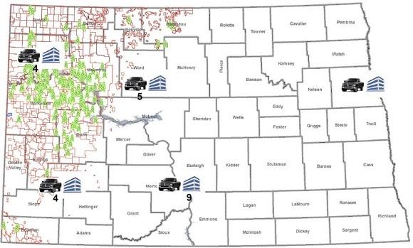 Sơ đồ giếng dầu tại Bakken, bang North Dakota.