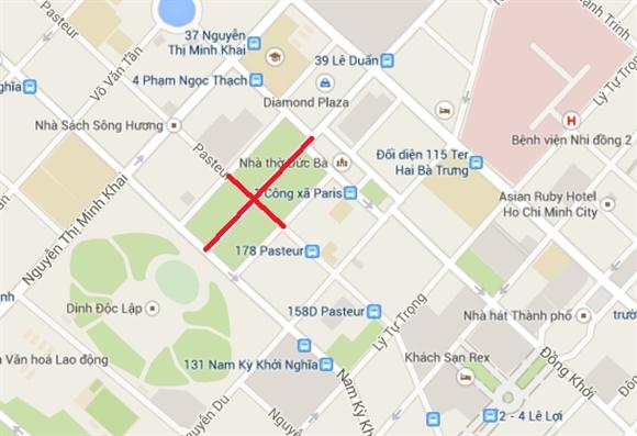 Cấm xe lưu thông trên hai tuyến đường Pasteur và Lê Duẩn.