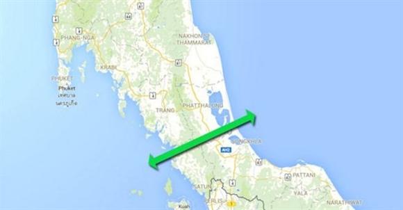 Kênh Kra được cho là cắt ngang miền nam Thái Lan như trên hình. Ảnh Phuketnews
