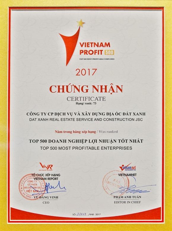 Dat Xanh vao top cac doanh nghiep co loi nhuan tot nhat Viet Nam