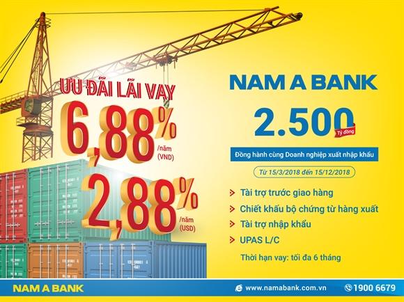 Nam A Bank  danh 2.500 ty dong uu dai lai vay
