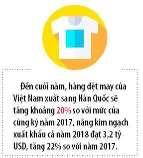 Hang det may Viet Nam dang chiem linh thi truong Han Quoc