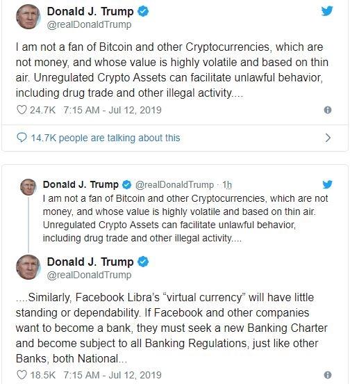 Trump chi trich dong tien ky thuat so Libra, tan duong dong USD