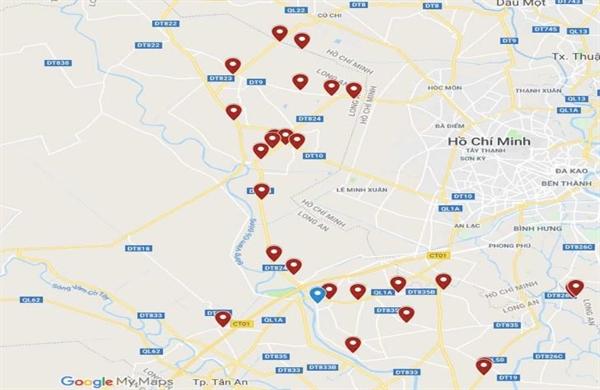 Bản đồ các dự án bất động sản lớn tại tỉnh Long Anh (Hình ảnh: Rever.vn)