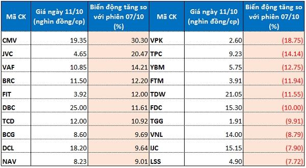 Top 10 cổ phiếu tăng/giảm mạnh trên HoSE. Nguồn: VH tổng hợp