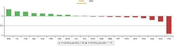 Nhóm cổ phiếu tác động mạnh đến chỉ số VN-Index. Nguồn: VnDirect