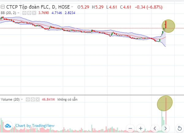 Cổ phiếu FLC giảm sàn với khối lượng lớn. Nguồn: VnDirect