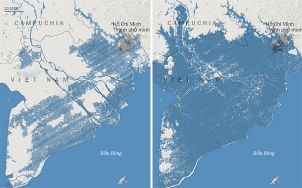 Biểu đồ bên trái là nghiên cứu cũ, biểu đồ bên phải là nghiên cứu mới về vùng bị ảnh hưởng khi thủy triều lên của Việt Nam.