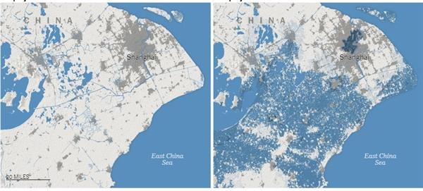 Biểu đồ bên trái là nghiên cứu cũ, biểu đồ bên phải là nghiên cứu mới về vùng bị ảnh hưởng khi thủy triều lên của Thượng Hải. Màu xanh là vùng nước biển tràn ngập vào đất liền màu xám là vùng dân cư. Nguồn: New York Times