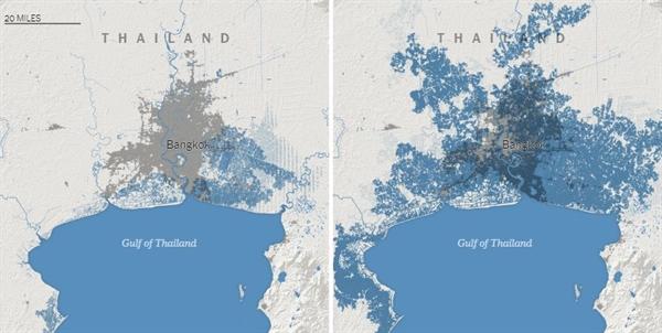 Biểu đồ bên trái là nghiên cứu cũ, biểu đồ bên phải là nghiên cứu mới về vùng bị ảnh hưởng khi thủy triều lên của Thái Lan. Màu xanh là vùng nước biển tràn ngập vào đất liền màu xám là vùng dân cư.