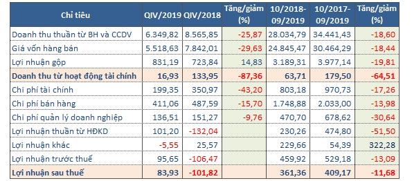 Kết quả kinh doan của Hoa Sen trong quý IV/2019. Nguồn: NCĐT tổng hợp.