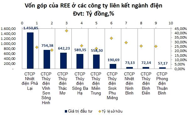 REE đang đầu tư vào 9 công ty ngành điện. Nguồn: NCĐT tổng hợp.