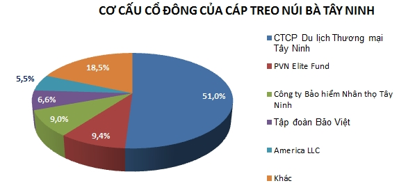 Cơ cấu cổ đông của Cáp treo Núi Bà Tây Ninh tại thời điểm 31/12/2018. Nguồn: NCĐT tổng hợp.