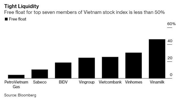 Tỷ lệ giao dịch tự do của các cổ phiếu hàng đầu trong VN-Index đều dưới 50%. Nguồn: Bloomberg.