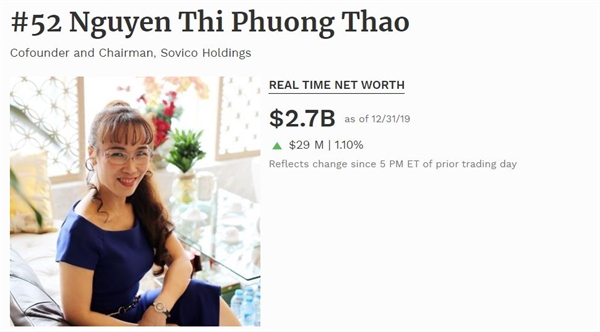Giá trị tài sản của bà Nguyễn Thị Phương Thảo.