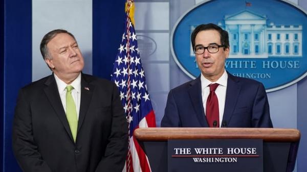 Ngoại trưởng Mỹ Mike Pompeo và Bộ trưởng Tài chính Steven Mnuchin đã công bố các lệnh trừng phạt mới lên. Ảnh: CNBC