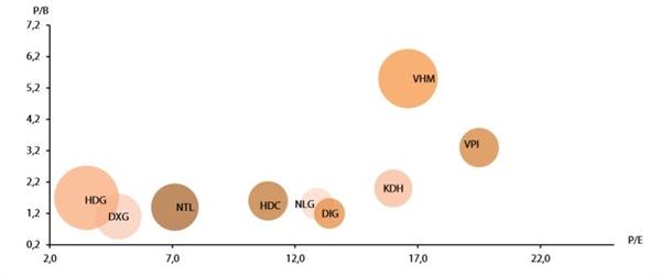 Tỷ lệ ROE, PB, PE của một số công ty bất động sản niêm yết. Ảnh: VDSC