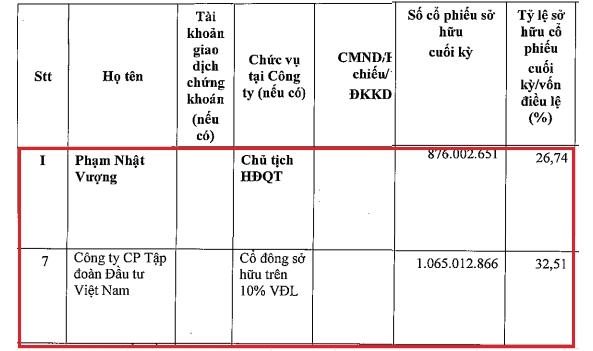 Tỷ lệ sở hữu của tỷ phú Phạm Nhật Vượng và CTCP Tập đoàn Đầu tư Việt Nam. Nguồn: Vingroup.