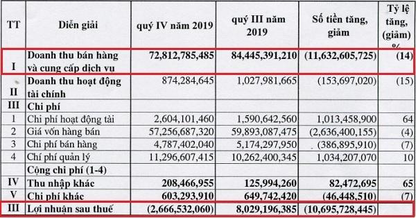 Quý IV/2019, Quốc tế Hoàng Gia lỗ hơn 2,6 tỷ đồng. Nguồn: RIC.