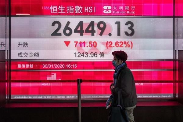 Một người phụ nữa đeo khẩu trang đi ngang qua nơi có hiển thị bảng giá của chỉ số Hang Sheng Index vào ngày 30/01. Ảnh: Getty Images/Bloomberg