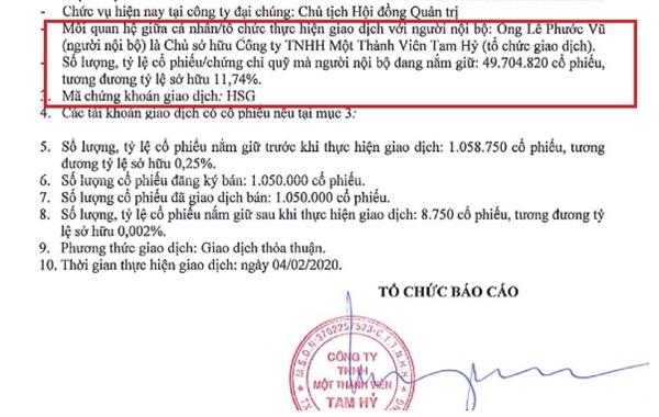 Công ty thuộc sở hữu của Chủ tịch Lê Phước Vũ vừa bán thành công hơn 1 triệu cổ phiếu HSG. Nguồn: HSG.