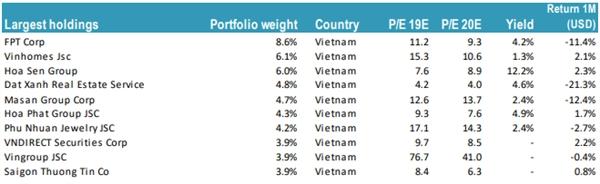 Top 10 cổ phiếu có tỷ trọng cao nhất trong danh mục Tundra Vietnam Fund D