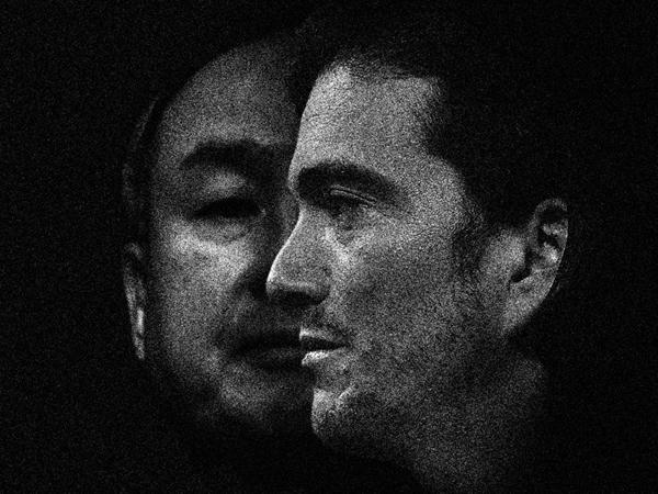 Masayoshi Son (bên trái) và cựu CEO WeWork, Adam Neumann