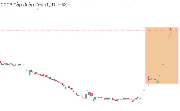Cổ phiếu YEG tăng trần nhiều phiên giao tiếp. Ảnh: FireAnt.