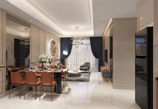 Nội thất cao cấp của căn hộ 3 phòng ngủ tại nhà mẫu dự án Opal Boulevard nằm trên trục đại lộ Phạm Văn Đồng.