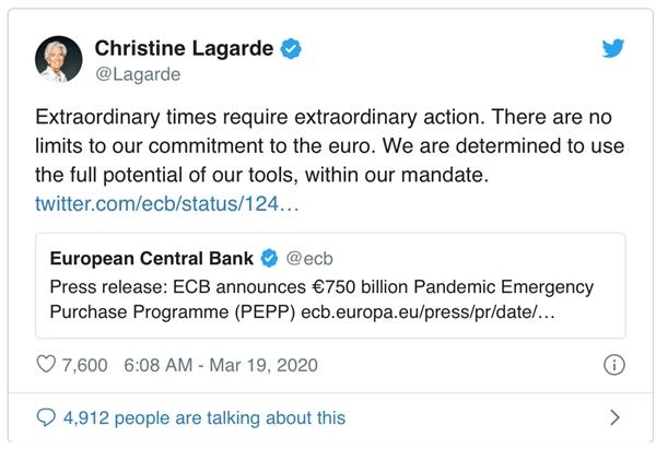 Dòng tweet của bà Christine Lagarde, Chủ tịch NHTW châu Âu