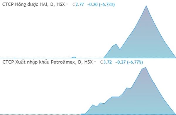 Diễn biến của cổ phiếu HAI và PIT. Ảnh: FireAnt.
