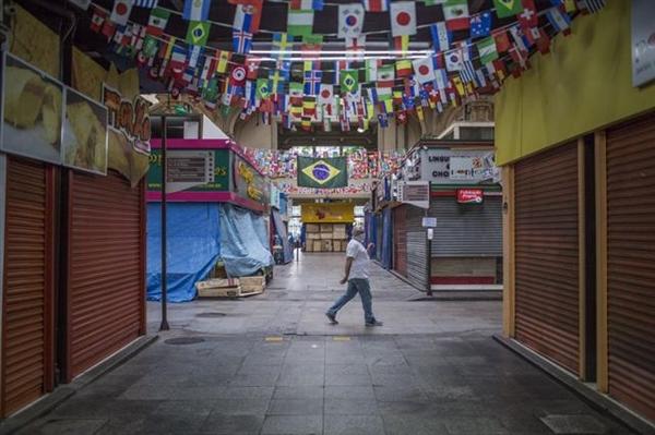 Chợ Municipal ở Sao Paulo (Brazil) ngày 8/4. Ảnh: Rodrigo Capote/Bloomberg.