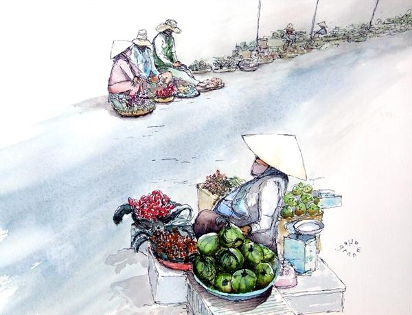 Hình ảnh ở chợ Đông Ba, Huế với những mẹt hàng của người dân địa phương. Khung cảnh bình dị như chính cuộc sống và con người ở nơi đây vậy.