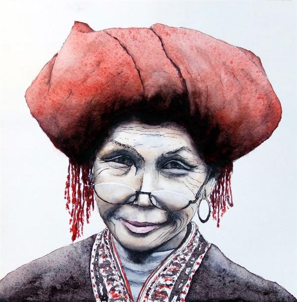 Chân dung một phụ nữ dân tộc thiểu số ở Việt Nam được ông Louis họa lại bằng những khối màu sắc vừa tươi tắn nhưng lại cũng trầm mặc và sâu sắc vô cùng.