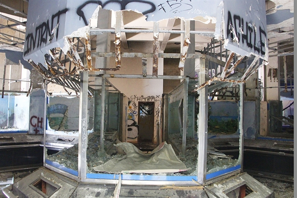 Mirror tanks inside the aquarium that used to house rare and precious aquatic species have been left shattered.