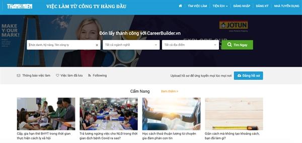 Ảnh chụp màn hình giao diện cổng thông tin việc làm trên ThanhNien Online.