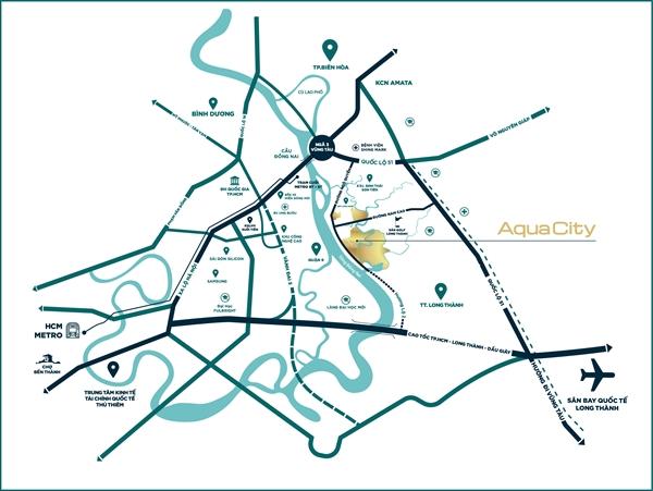 Aqua City nằm tại vị trí kết nối giao thông chiến lược liên vùng