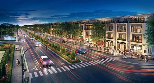 Các dãy nhà phố thương mại (shophouse) sầm uất trên đại lộ Gold Silk, phố Sunrise và phố Sunset.