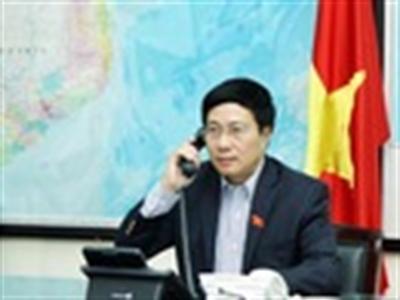 Phó Thủ tướng Phạm Bình Minh điện đàm với Ngoại trưởng Hoa Kỳ John Kerry