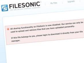 Dịch vụ chia sẻ dữ liệu FileSonic đóng cửa