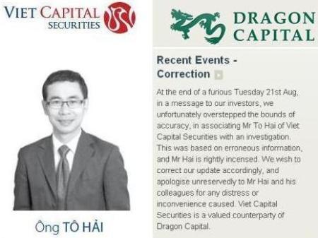 Chứng khoán Bản Việt xem xét kiện Dragon Capital vì đưa tin sai về ông Tô Hải