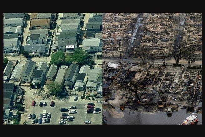 Cận cảnh nước Mỹ trước và sau siêu bão Sandy