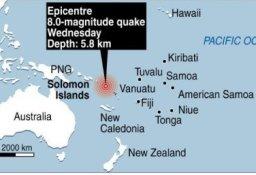 Động đất 8 độ richter gây sóng thần tàn phá đảo Solomon