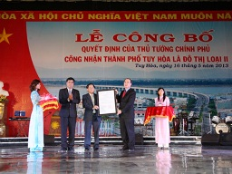 Thành phố Tuy Hòa, Phú Yên được công nhận là đô thị loại II