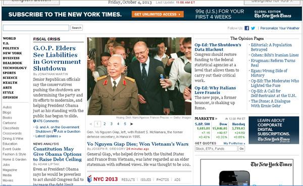 Trang chủ một số tờ báo lớn thế giới sau khi Đại tướng Võ Nguyên Giáp từ trần