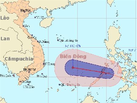 Trưa nay áp thấp nhiệt đới đi vào biển Đông, mạnh lên thành bão