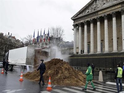 Phân đổ trước nhà Quốc hội Pháp