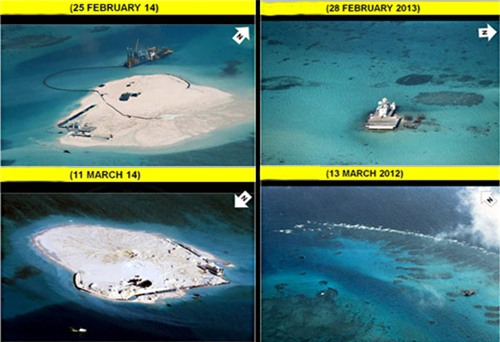 Philippines tố Trung Quốc đào đắp 5 bãi đá trên Biển Đông