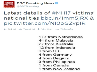Số hành khách Hà Lan tử vong tăng lên 173 người