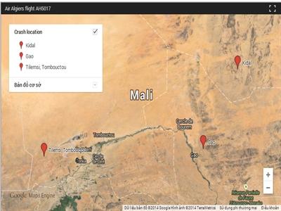 Air Algerie xác nhận máy bay rơi ở Tilemsi thuộc Mali